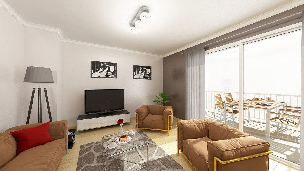 Perspective Salon Appartement T2 Residence Fragoline Woippy Village Ref B33 66455448/ Fragoline