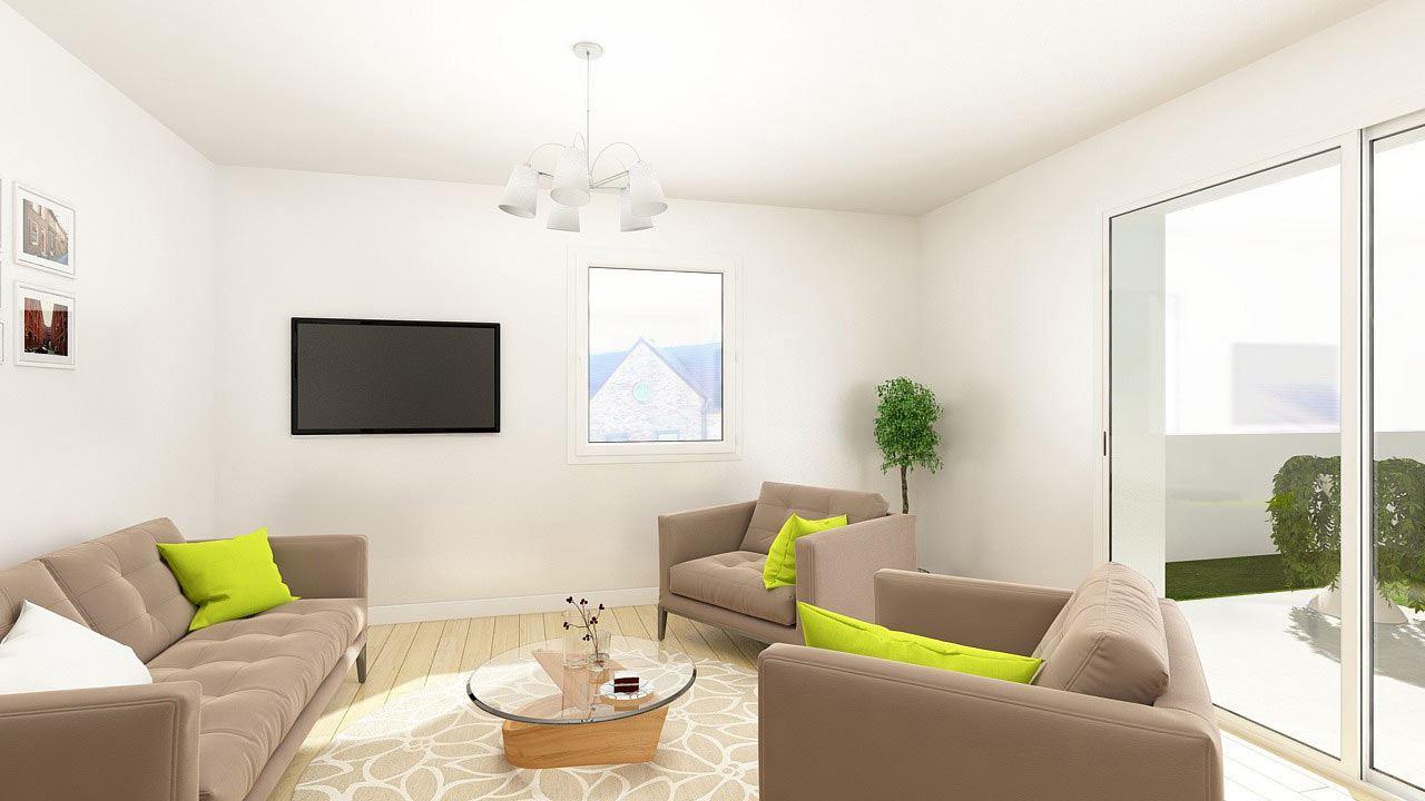 Perspective Salon Appartement T2 Residence Cote Marianne Yutz Ref B1 76921776/ Côté Marianne
