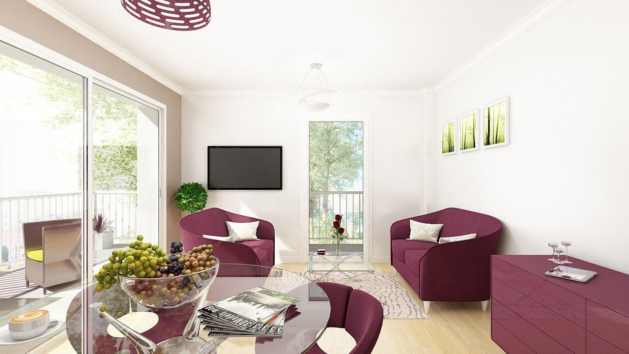 Perspective Salon Appartement T4 Residence Cote Marianne Yutz Ref C16 46219335/ Côté Marianne