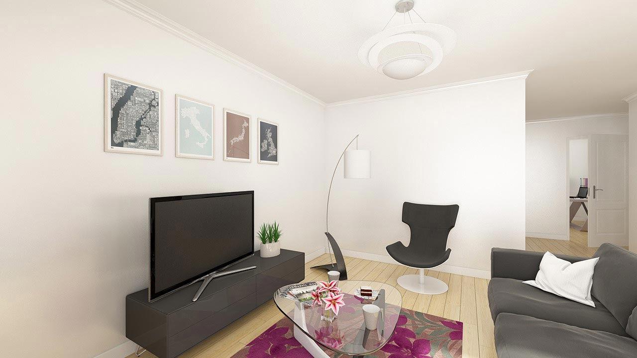 Perspective Salon Appartement T5 Residence Cote Marianne Yutz Ref B14 48218100/ Côté Marianne