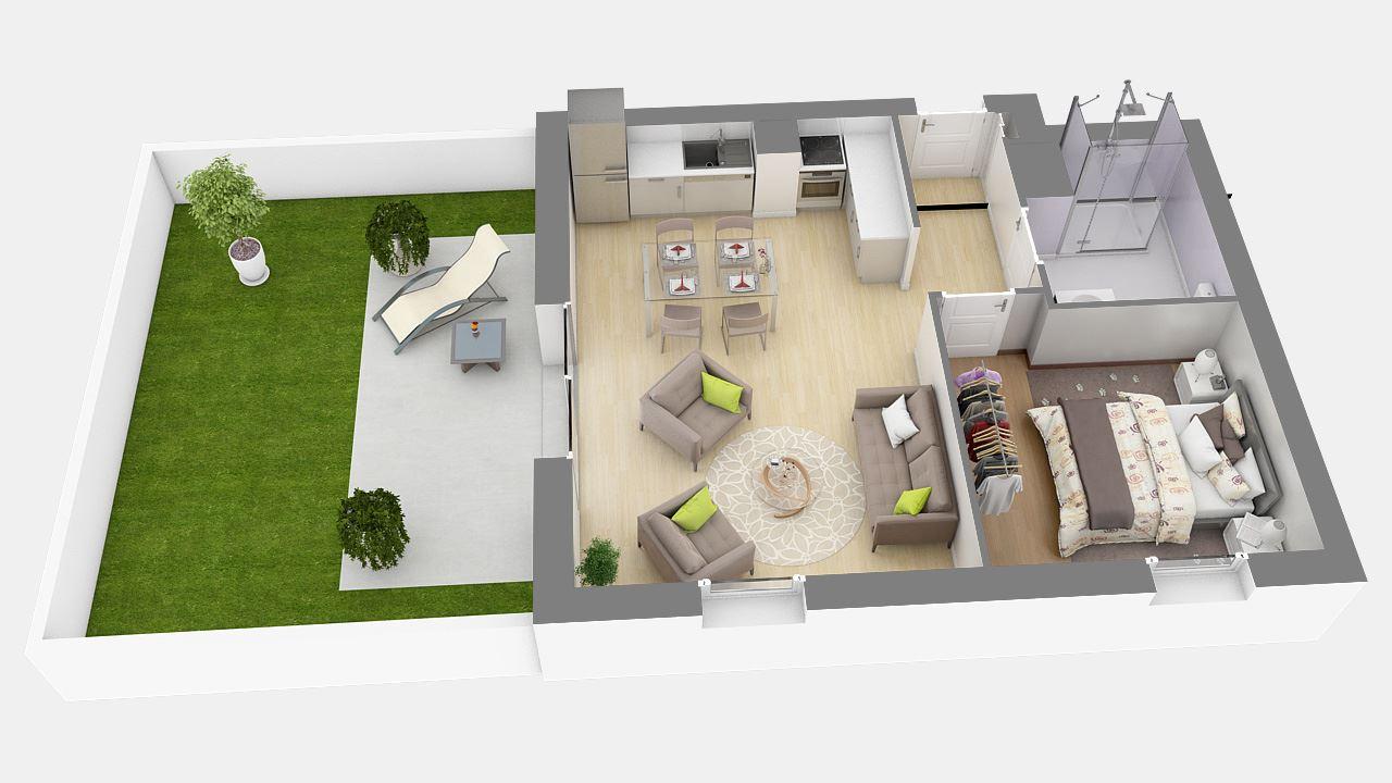 Plan3d Appartement T2 Residence Cote Marianne Yutz Ref B1 57335094/ Côté Marianne