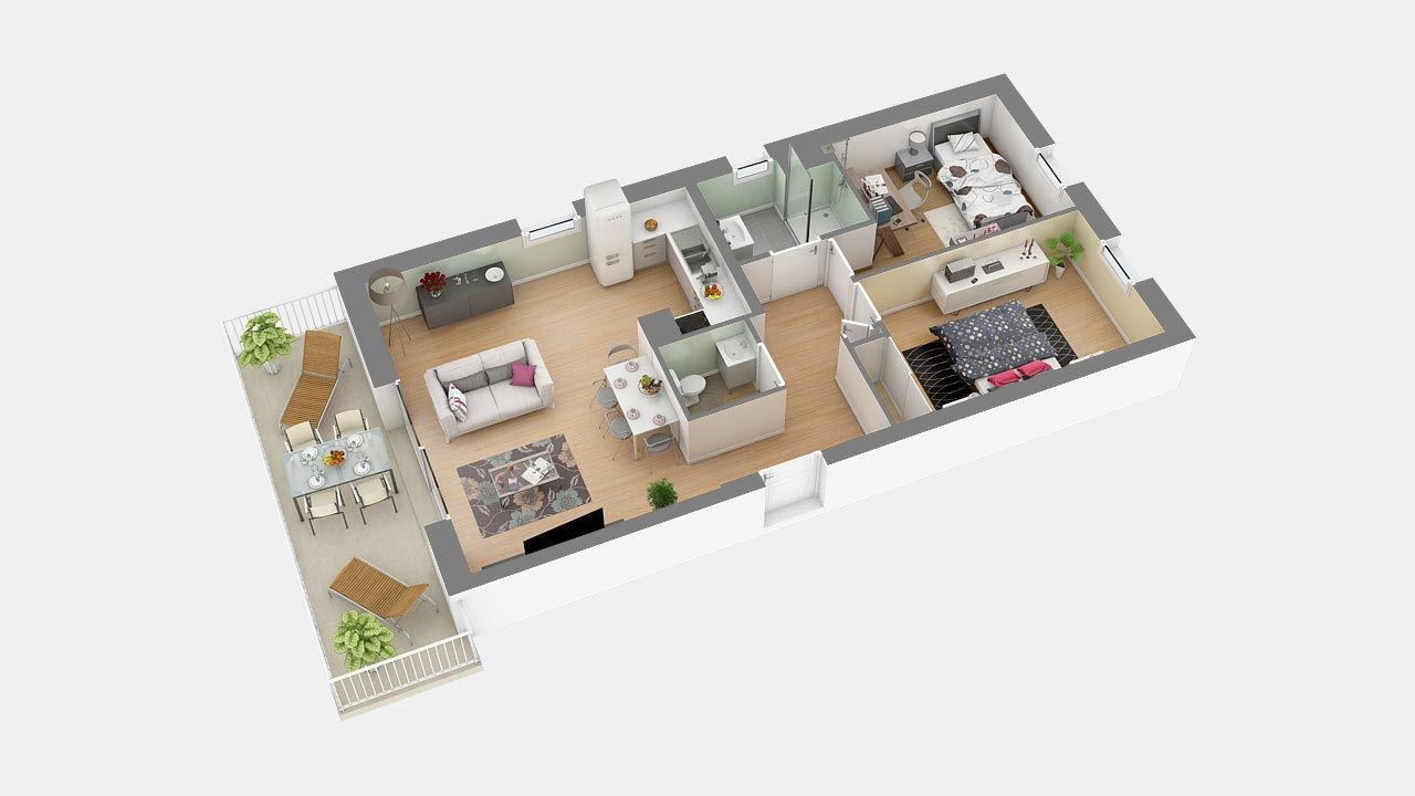 Plan3d Appartement T3 Residence Cote Marianne Yutz Ref B9 70320444/ Côté Marianne