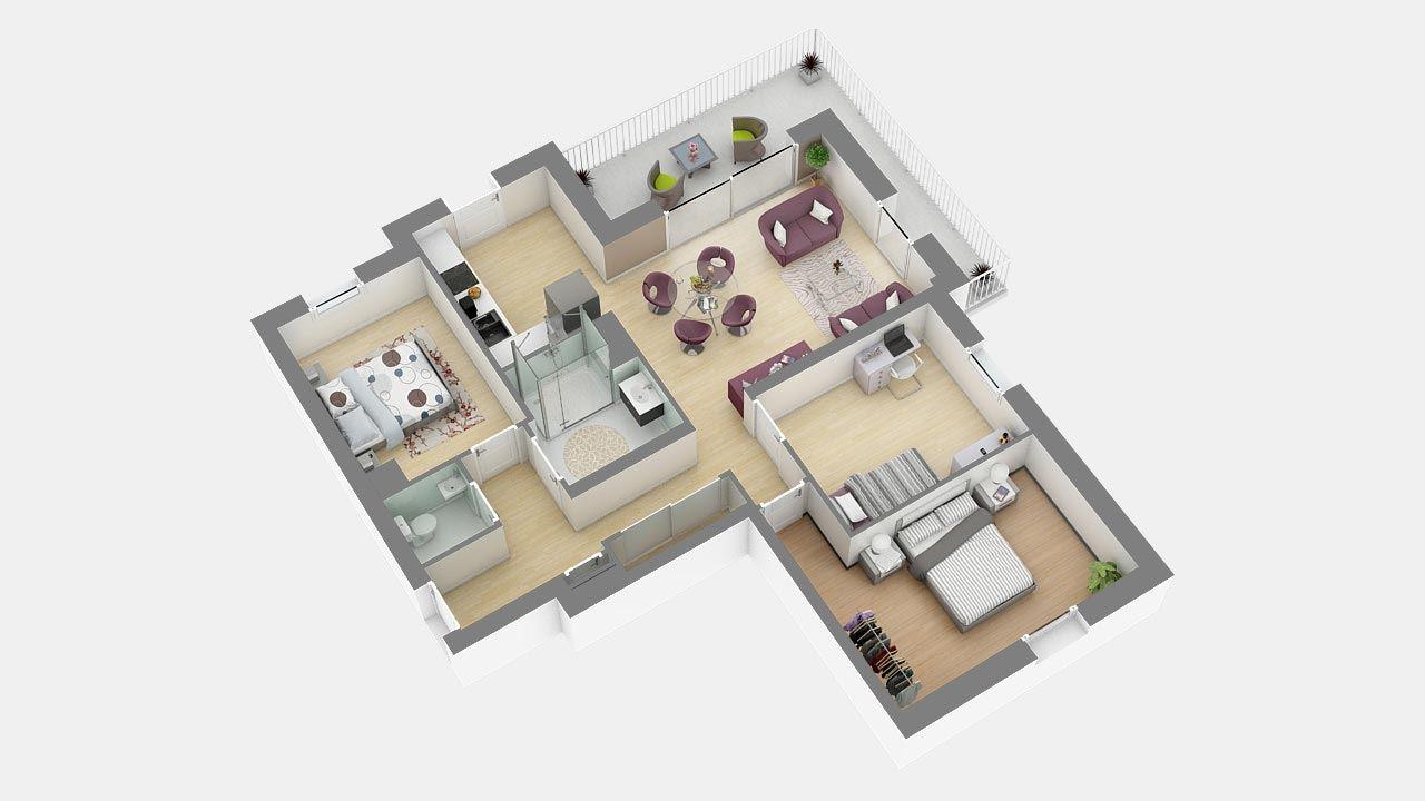 Plan3d Appartement T4 Residence Cote Marianne Yutz Ref C16 89420975/ Côté Marianne