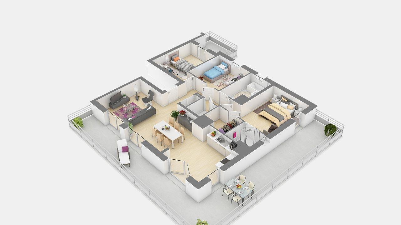 Plan3d Appartement T5 Residence Cote Marianne Yutz Ref B14 89281938/ Côté Marianne